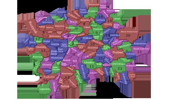 Mapka pražských městských částí, katastrálních území a správních obvodů